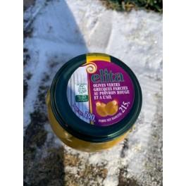 Olives vertes au poivron rouge et ail - 390gr